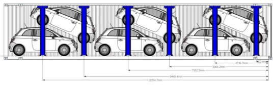 Clever car racking and intelligent software double number of cars in shipping containers
