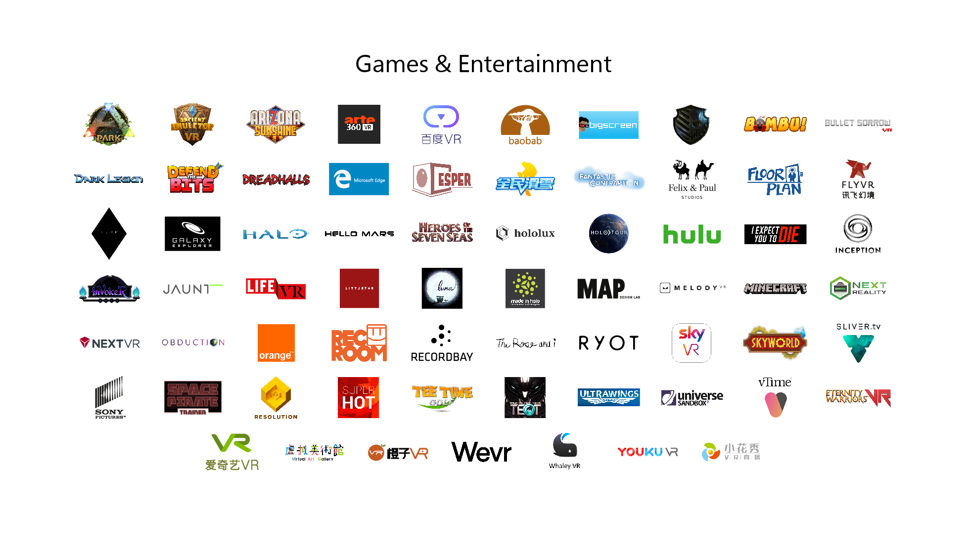 Windows Mixed Reality Entertainment Partners