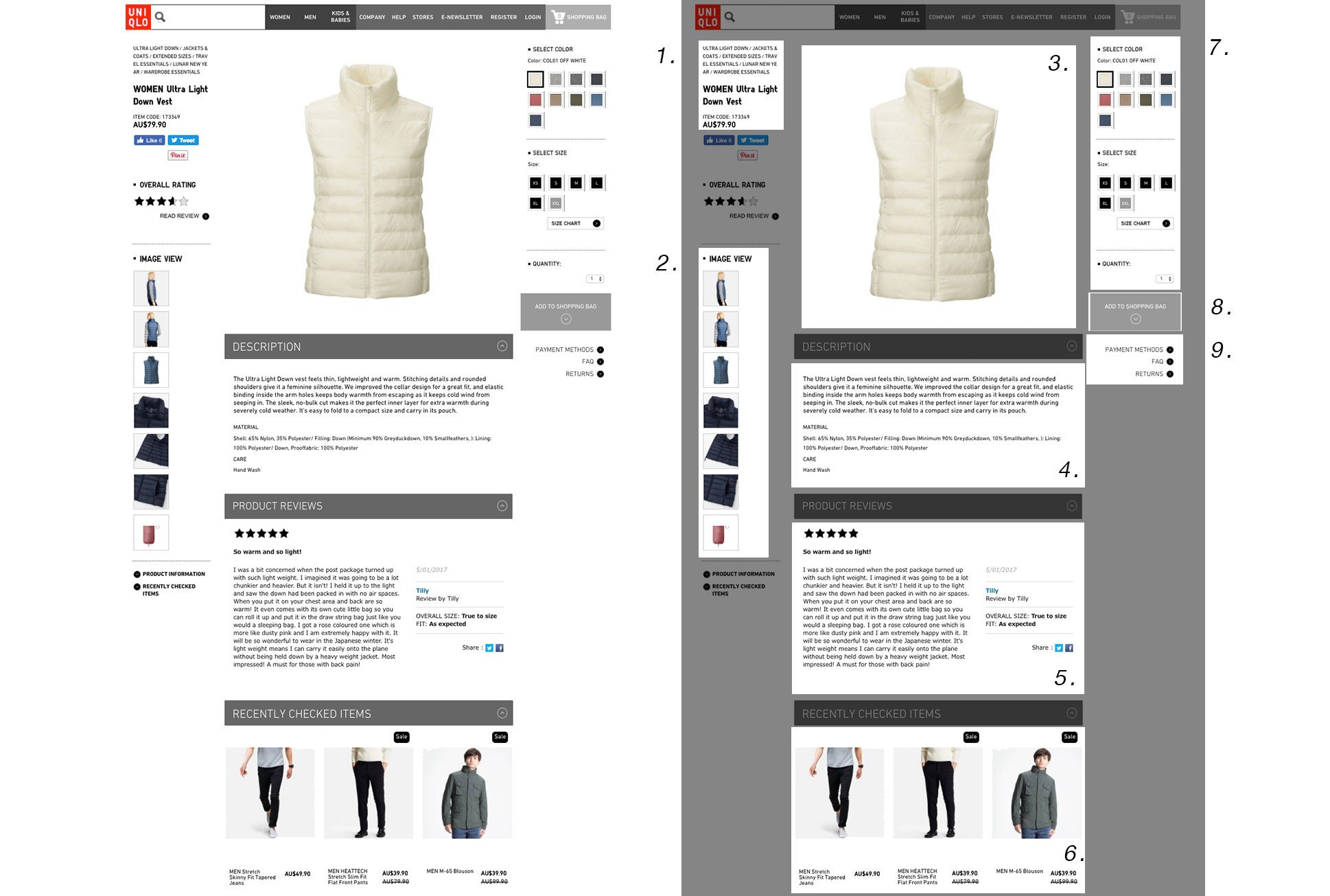 Uniqlo Product Page Design Example