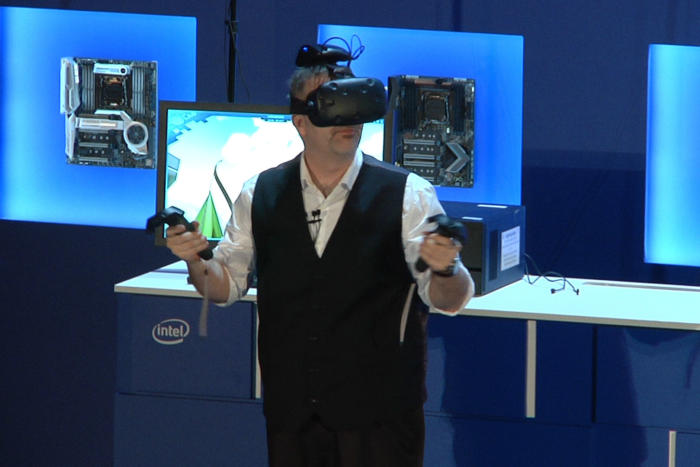 Intel shows off wireless VR on the HTC Vive