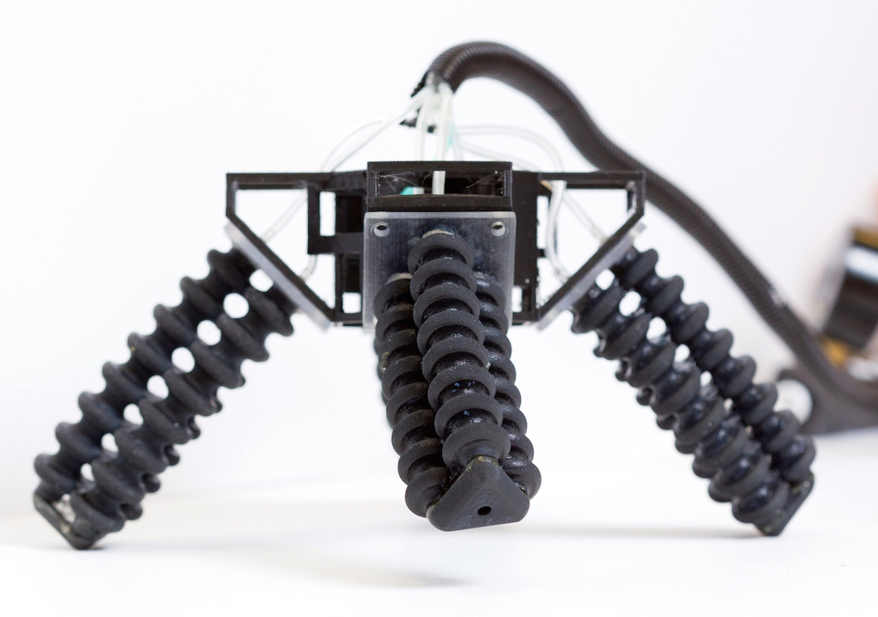 3D-Printed Pneumatic Quadruped Robot Adapts to Rough Terrain