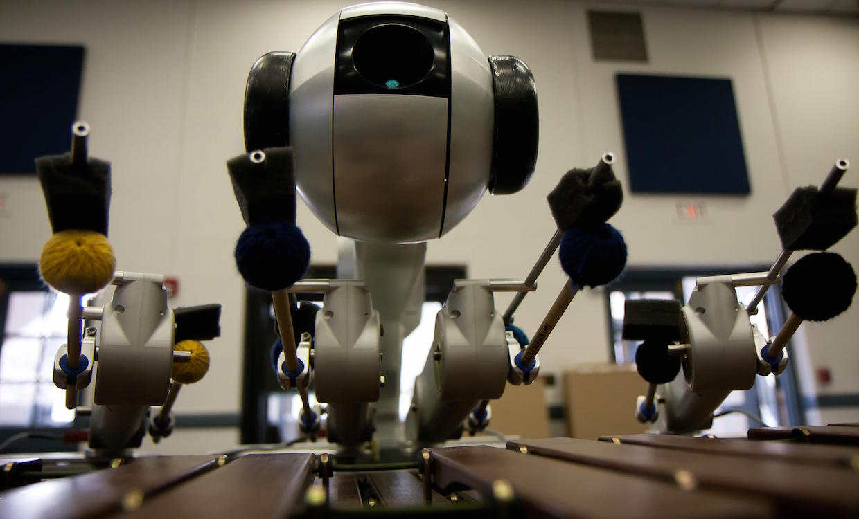 Four-Armed Marimba Robot Uses Deep Learning to Compose Its Own Music